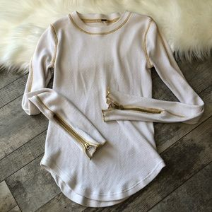 Free people long sleeve gold stitched thermal